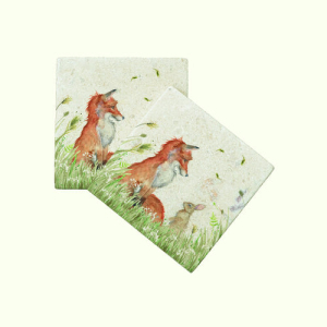 Fox And Rabbit Coasters Pair