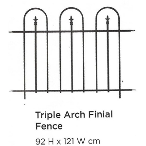 Triple Arch Finial Fence Black