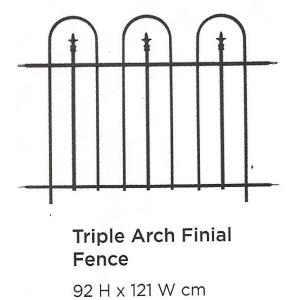 Triple Arch Finial Fence Black