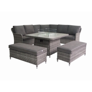 Atlanta Gas Firepit Corner Dining Set