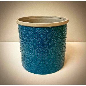 Floral Embossed Teal Pot Cover 15cm