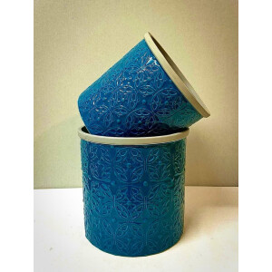 Floral Embossed Teal Pot Cover 18cm