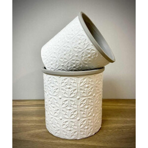 Floral Embossed White Pot Cover 15Cm