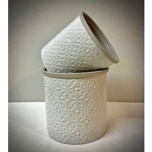 Floral Embossed Light Grey Pot Cover 13cm