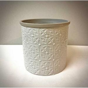 Floral Embossed Light Grey Pot Cover 15cm