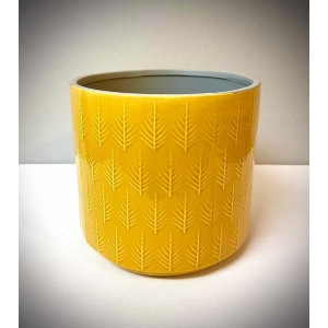 Leaf Embossed Planter Mustard 18cm