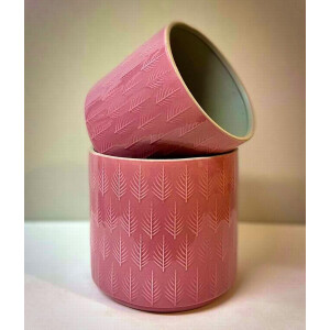 Leaf Embossed Pink Pot Cover 15Cm