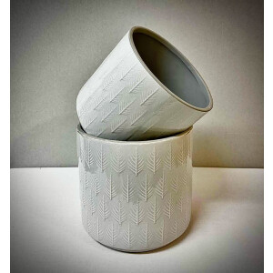 Leaf Embossed Light Grey Pot Cover 13cm