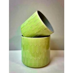 Leaf Embossed Soft Green Pot Cover 15cm
