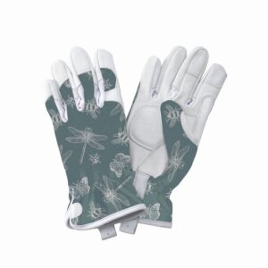 KS Leather Gloves Flutter Bugs Teal Medium