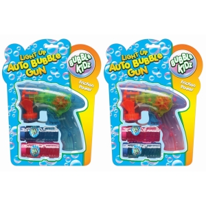 Auto Bubble Gun With Light + 2 Bubble Tubs