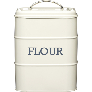 Cream Tin Flour Canister