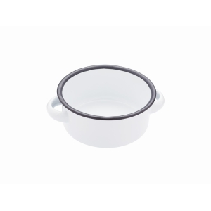 Enamel White And Grey Serving Bowl