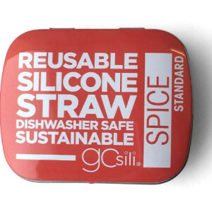 Silicone Straw In Tin ( colour may vary )