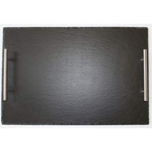 Slate Serving Tray With Silver Handles Large
