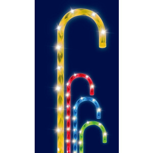 4pc Pack of Multi Colour Candy Cane Path Lights