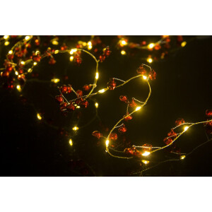 Battery Operated Red Bell and Jewel LED Micro Light Garland