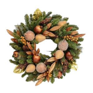 Luxury Pine Wreath with Bronze and Gold Fruit and Foliage