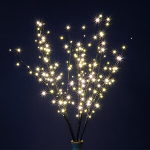 Set of Brown Twig Trees with 200 Warm White Micro LED Lights