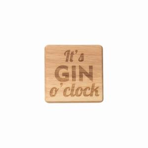 Gin O Clock Wooden Coaster