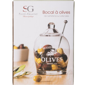Glass Olive Jar With Serving Spoon