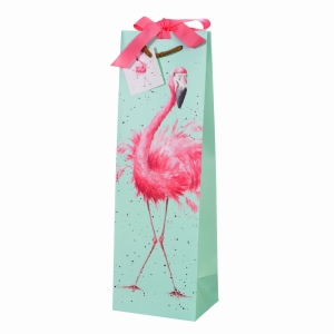 Pretty Pink Flamingo Gift Bag Bottle