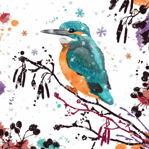 Pack 10 RSPB Christmas Cards Kingfisher