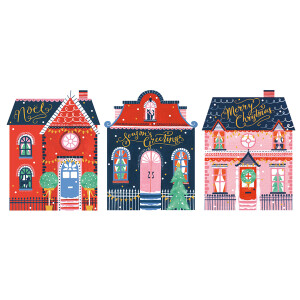 A Trio Box of 12 Art File Christmas Cards Houses Design