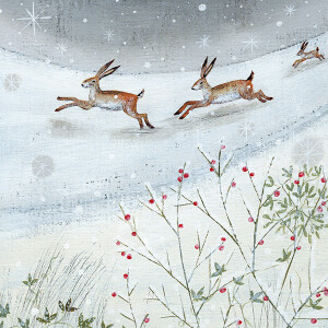 Pack of 6 Charity Cards Hares In Snow Design – RSPCA