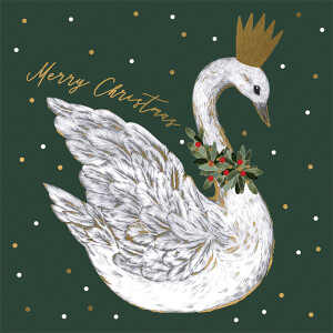 Pack of 6 Charity Cards Green Royal Swan Design – RSPCA