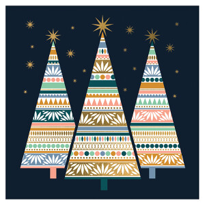 Pack of 6 Charity Cards Modern Xmas Tree Design – RSPCA
