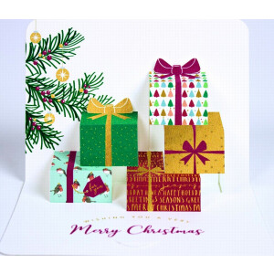 A Pack of 5 3D pop up Christmas Cards Parcels under the Tree