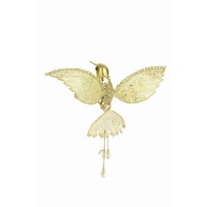 Jeweled Hummingbird Clip Gold