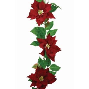 Velvet Poinsettia Garland 6ft