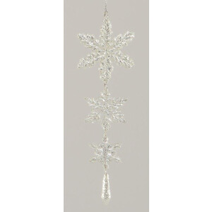 3 Tier Silver Hanging Snowflake Decoration