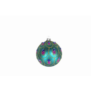 Peacock Feather Scalloped Glass Bauble