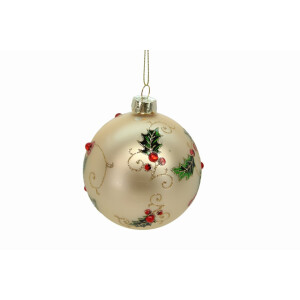 Gold Glass Bauble with Diamante Holly Embelishment