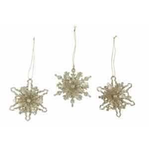 3D Gold Glitter Snowflake