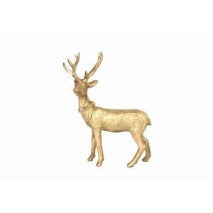 Gold Standing Stag wit Diamante Collar