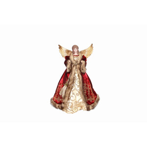 Red, Cream and Gold Angel Tree Topper