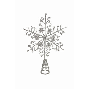 Silver Glitter Snowflake Treetop Star
