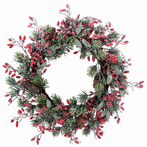 Frosted Fir Wreath with Rose Hips
