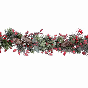 Frosted Fir Garland with Rose Hips