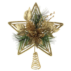 Gold Glitter Treetop Star with Poinsettia Flower
