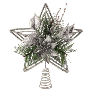 Silver Glitter Treetop Star with Poinsettia Flower