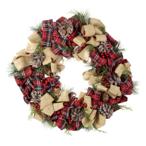 Hessian and Tartan Ribbon Christmas Wreath.