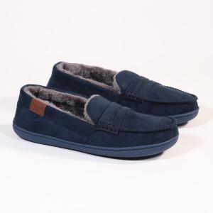 Mens Moccassin With Fur Lining Navy
