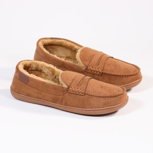 Mens Moccassin With Fur Lining Cognac