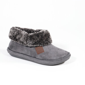 Ladies Boot Slipper With Fur Collar Detail Charcoal