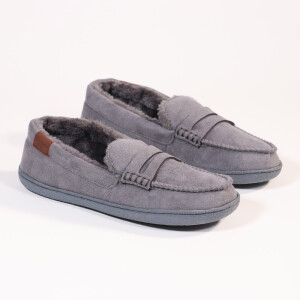 Mens Moccasin With Fur Lining Grey